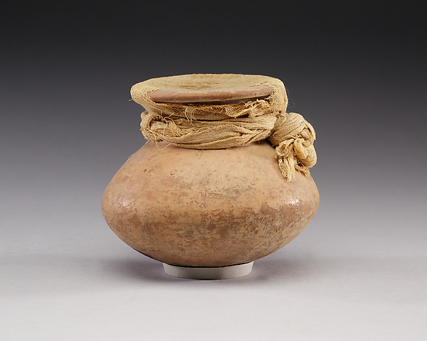 Cosmetic Jar Sealed with Linen, Pottery, linen