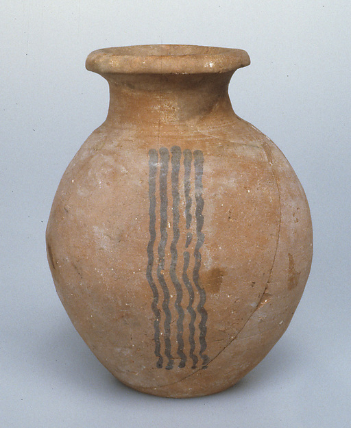 Late ware jar with wavy painted decoration, Pottery, paint