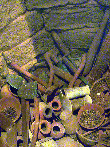 Reconstruction of a Foundation Deposit, Pottery, wood, leather, reed, stone, bronze or copper alloy, food remains