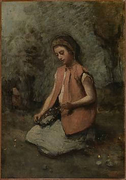 Girl Weaving a Garland