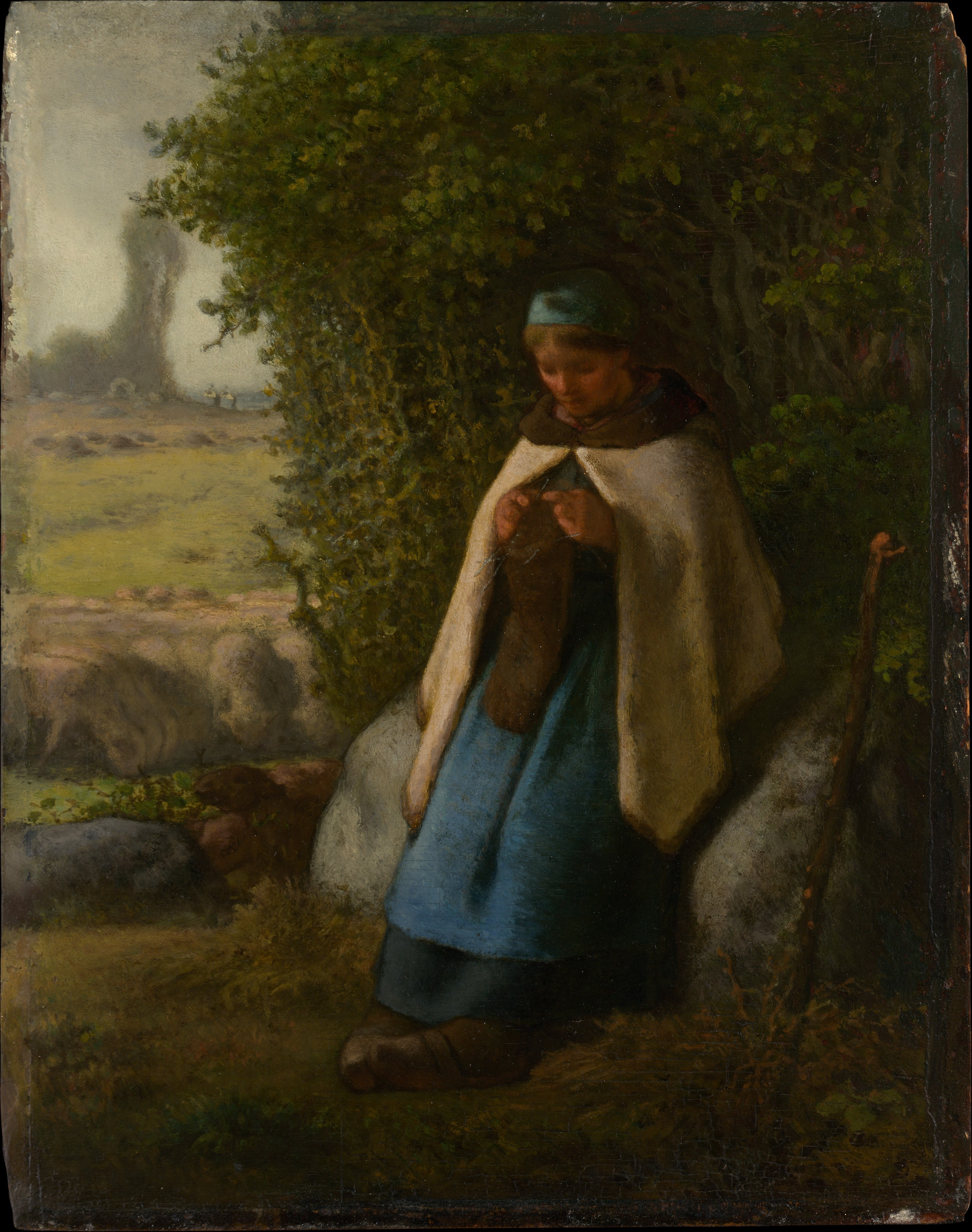 Jean Fran 231 Ois Millet Shepherdess Seated On A Rock The Met