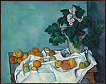 Still Life with Apples and a Pot of Primroses, Paul Cézanne (French, Aix-en-Provence 1839–1906 Aix-en-Provence), Oil on canvas