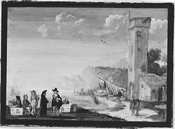 Harbor Scene, Flemish Painter (ca. 1650), Vellum