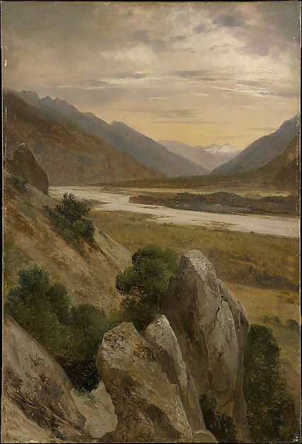 Alpine Landscape, Alexandre Calame (Swiss, Vevey 1810–1864 Menton), Oil on paper, laid down on canvas