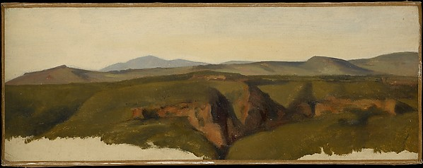 View in the Roman Campagna, Alexandre Desgoffe (French, Paris 1805–1882 Paris), Oil on paper, laid down on canvas