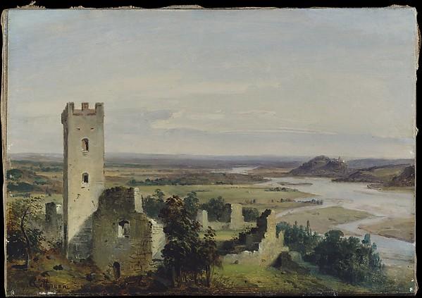 River Landscape with Castle Ruins, Carl Rottmann (German, Handschuhsheim 1797–1850 Munich), Oil on paper, laid down on canvas