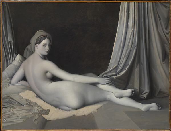 An almost monitone painting of a naked woman reclining. She is laying on her side, looking over her shoulder at the viewer. The background is dark, and the painting could almost be a black-and-white photograph in places.