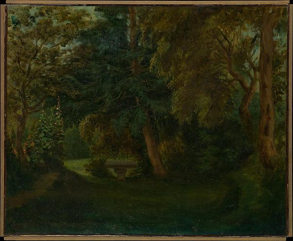 George Sand's Garden at Nohant, Eugène Delacroix (French, Charenton-Saint-Maurice 1798–1863 Paris), Oil on canvas