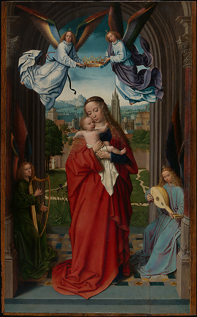 Virgin and Child with Four Angels, Gerard David (Netherlandish, Oudewater ca. 1455–1523 Bruges), Oil on wood