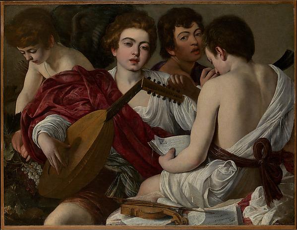 The Musicians, Caravaggio (Michelangelo Merisi) (Italian, Milan or Caravaggio 1571–1610 Porto Ercole), Oil on canvas
