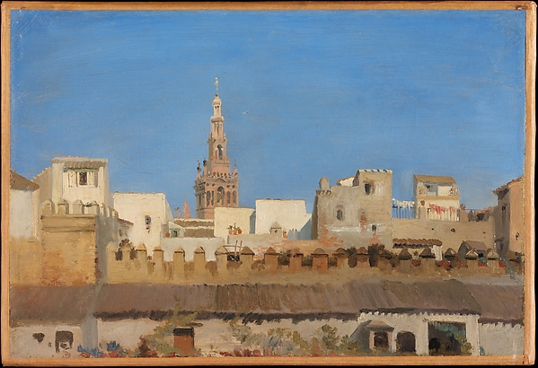 The Giralda, Seville, Adrien Dauzats (French, Bordeaux 1804–1868 Paris), Oil on paper, laid down on canvas
