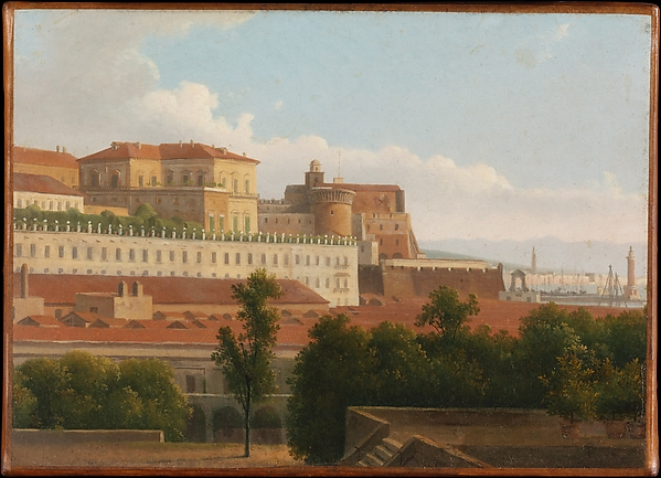 The Palazzo Reale and the Harbor, Naples, Alexandre Hyacinthe Dunouy (French, Paris 1757–1841 Jouy-en-Josas), Oil on paper, laid down on canvas