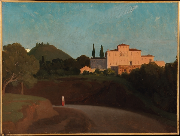 View of the Villa Torlonia, Frascati, at Dusk, Paul Flandrin (French, Lyons 1811–1902 Paris), Oil on paper, laid down on paper