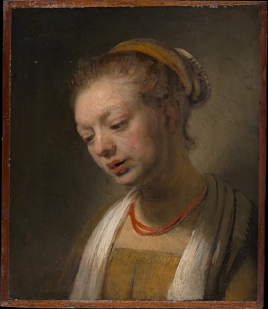 Young Woman with a Red Necklace, Style of Rembrandt (Dutch, ca. 1645), Oil on wood