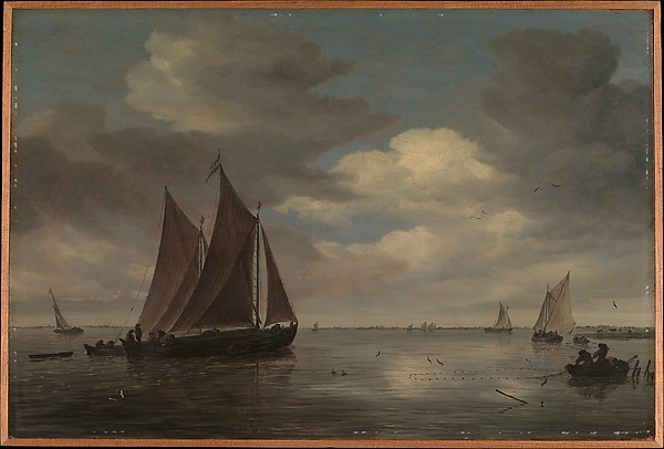 Fishing Boats on a River, Salomon van Ruysdael (Dutch, Naarden, born ca. 1600–1603, died 1670 Haarlem), Oil on wood