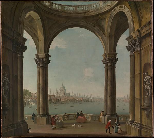 Capriccio with St. Paul's and Old London Bridge, Antonio Joli (Italian, Modena 1700–1777 Naples), Oil on canvas