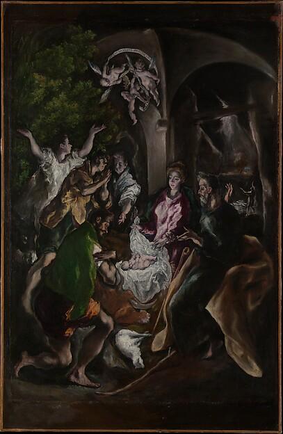 The Adoration of the Shepherds, El Greco (Domenikos Theotokopoulos) (Greek, Iráklion (Candia) 1540/41–1614 Toledo), Oil on canvas