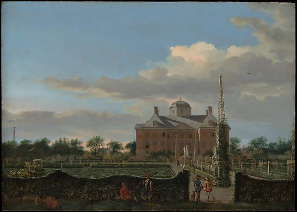 The Huis ten Bosch at The Hague and Its Formal Garden (View from the South), Jan van der Heyden (Dutch, Gorinchem 1637–1712 Amsterdam), Oil on wood