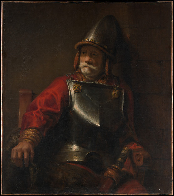 Man in Armor (Mars?), Style of Rembrandt (Dutch, second or third quarter 17th century), Oil on canvas
