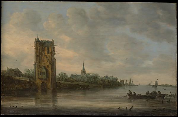 The Pelkus Gate near Utrecht, Jan van Goyen (Dutch, Leiden 1596–1656 The Hague), Oil on wood