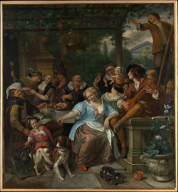 Merry Company on a Terrace, Jan Steen (Dutch, Leiden 1626–1679 Leiden), Oil on canvas