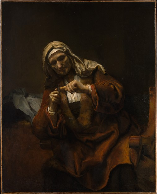Old Woman Cutting Her Nails, Style of Rembrandt (Dutch, second or third quarter 17th century), Oil on canvas