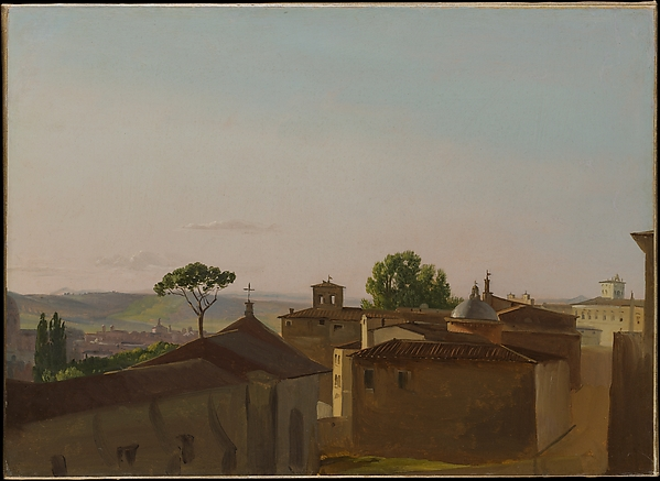 View on the Quirinal Hill, Rome, Simon Denis (Flemish, Antwerp 1755–1813 Naples), Oil on paper, laid down on canvas