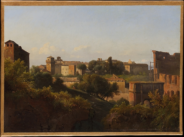View of the Colosseum and the Arch of Constantine from the Palatine, Charles Rémond (French, Paris 1795–1875 Paris), Oil on paper, laid down on canvas