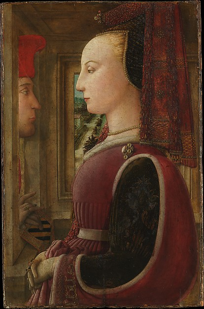 Portrait of a Woman with a Man at a Casement, Fra Filippo Lippi (Italian, Florence ca. 1406–1469 Spoleto), Tempera on wood