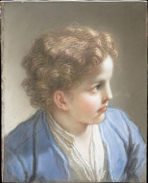 Study of a Boy in a Blue Jacket, Benedetto Luti (Italian, Florence 1666–1724 Rome), Pastel and chalk on blue laid paper, laid down on paste paper