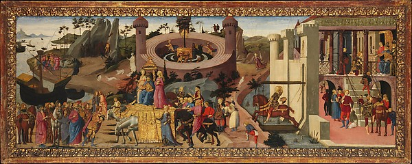 Scenes from the Story of the Argonauts, Biagio d'Antonio (Italian, Florentine, active by 1472–died 1516), Tempera on wood, gilt ornaments