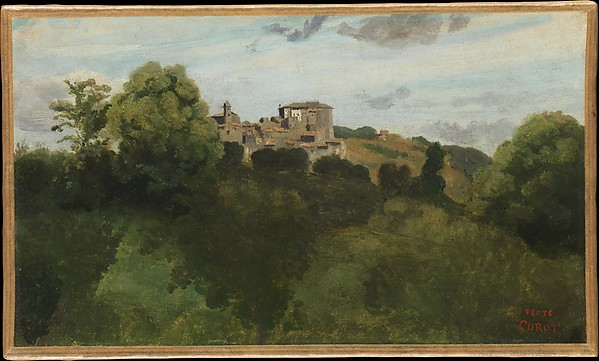 View of Genzano, Camille Corot (French, Paris 1796–1875 Paris), Oil on paper, laid down on canvas