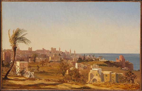 View of Beirut, Jules Coignet (French, Paris 1798–1860 Paris), Oil on paper, laid down on canvas