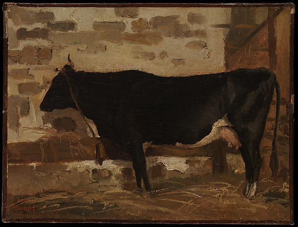 Cow in a Barn, Camille Corot (French, Paris 1796–1875 Paris), Oil on paper, laid down on canvas