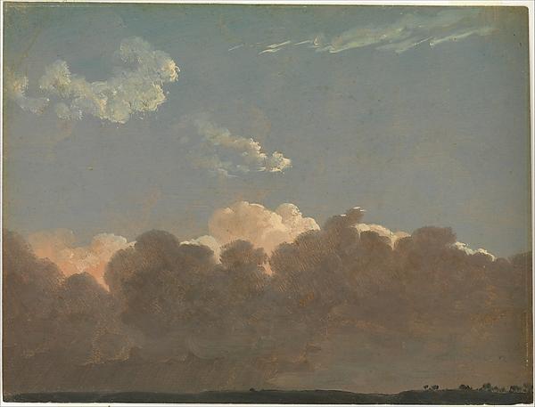 Cloud Study (Distant Storm), Simon Denis (Flemish, Antwerp 1755–1813 Naples), Oil on paper