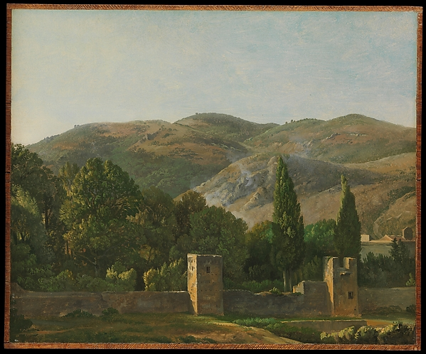 Fortified Wall, Italy, Simon Denis (Flemish, Antwerp 1755–1813 Naples), Oil on paper, laid down on wood