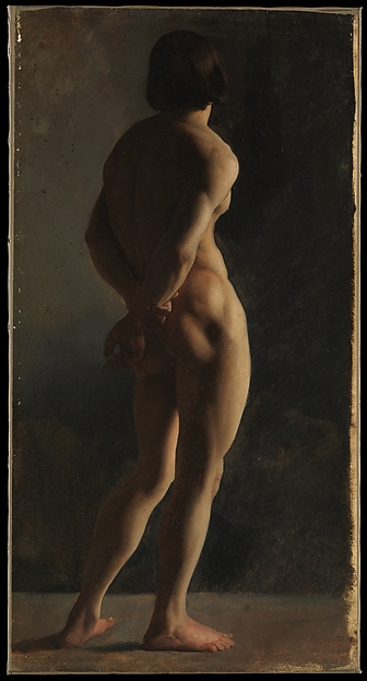 Male Nude, Seen from Behind, Hippolyte Flandrin (French, Lyons 1809–1864 Rome), Oil on paper, laid down on canvas