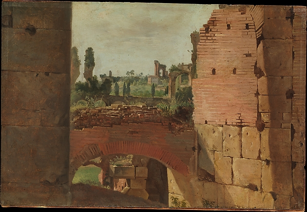 View from the Colosseum toward the Palatine, ? German Painter (early 19th century), Oil on paper, laid down on cardboard