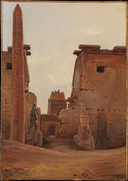 The Gate to the Temple of Luxor, Antoine-Xavier-Gabriel de Gazeau, comte de La Bouëre (French, Jallais 1801–1881 Grenoble), Oil on paper, laid down on canvas