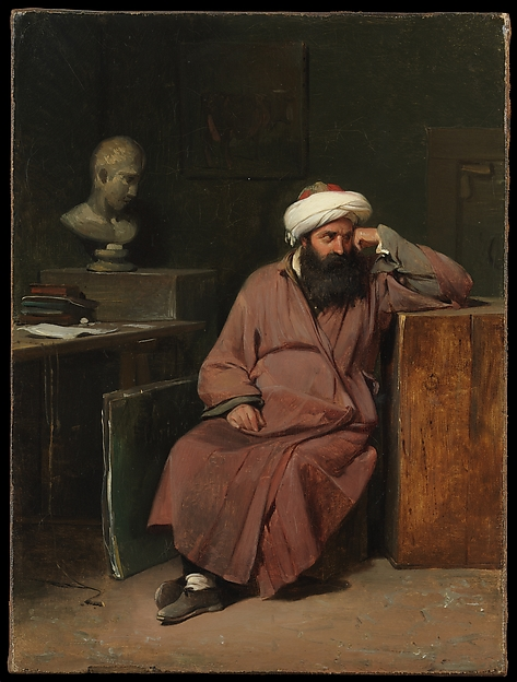 Man in Oriental Costume in the Artist's Studio, Auguste-Xavier Leprince (French, Paris 1799–1826 Nice), Oil on canvas