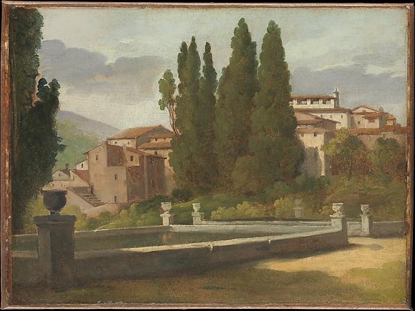 View in the Gardens of the Villa d'Este, Léon Pallière (French, Bordeaux 1787–1820 Bordeaux), Oil on paper, laid down on canvas