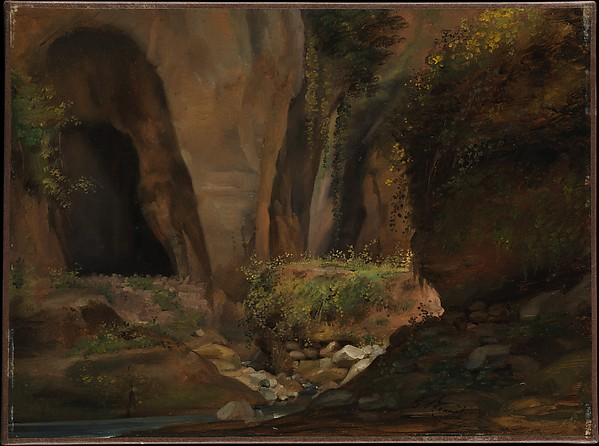 Ravine at Sorrento, Claude Bonnefond (French, Lyons 1796–1860 Lyons), Oil on paper, laid down on canvas