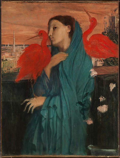 Young Woman with Ibis, Edgar Degas (French, Paris 1834–1917 Paris), Oil on canvas