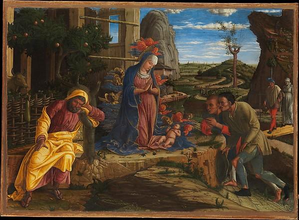 The Adoration of the Shepherds, Andrea Mantegna (Italian, Isola di Carturo 1430/31–1506 Mantua), Tempera on canvas, transferred from wood
