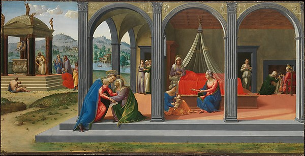 Scenes from the Life of Saint John the Baptist, Francesco Granacci (Francesco di Andrea di Marco) (Italian, Villamagna 1469–1543 Florence), Tempera, oil, and gold on wood