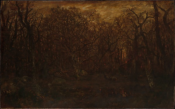 The Forest in Winter at Sunset, Théodore Rousseau (French, Paris 1812–1867 Barbizon), Oil on canvas