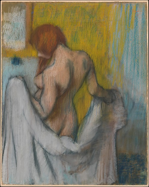 Woman with a Towel, Edgar Degas (French, Paris 1834–1917 Paris), Pastel on cream-colored wove paper with red and blue fibers throughout