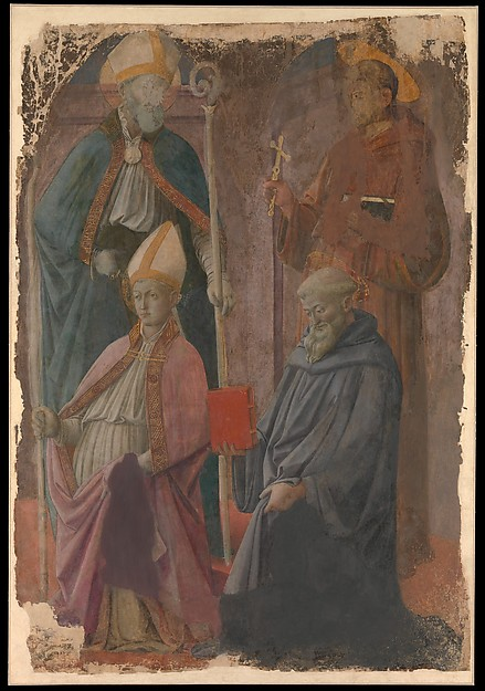 Saints Augustine and Francis, a Bishop Saint, and Saint Benedict, Fra Filippo  Lippi