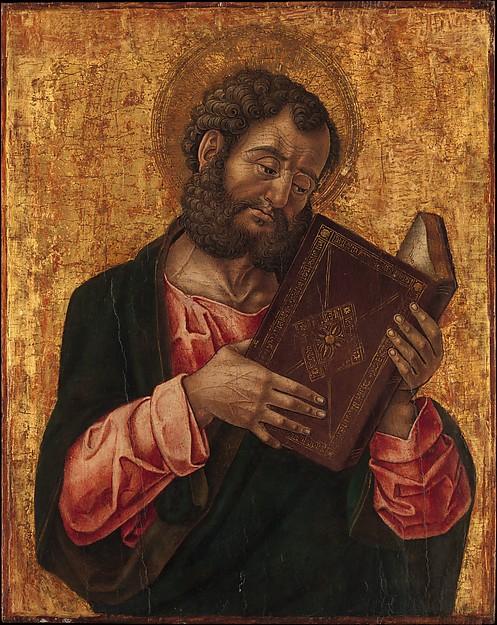 A Saint (Mark?) Reading, Bartolomeo Vivarini (Italian, active Venice 1450–91), Tempera on wood, gold ground