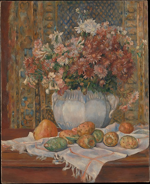 Still Life with Flowers and Prickly Pears, Auguste Renoir (French, Limoges 1841–1919 Cagnes-sur-Mer), Oil on canvas